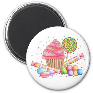 Wonderland Cupcake Candy Lollipop Sweet Tarts 2 Inch Round Magnet