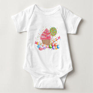 Wonderland Cupcake Candy Lollipop Sweet Tarts Baby Bodysuit