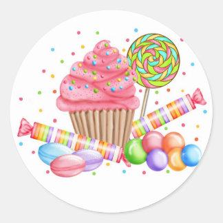 Wonderland Cupcake Candy Lollipop Sweet Tarts Classic Round Sticker