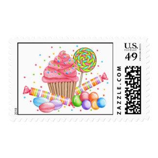 Wonderland Cupcake Lollipop Candy Postage Stamps