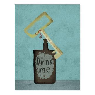 Wonderland drink me gold key vintage get well soon postcard