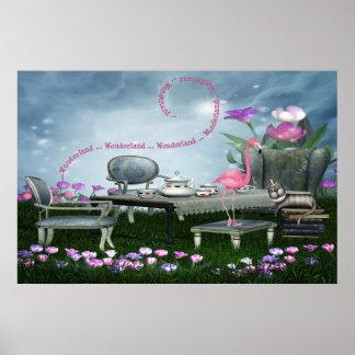 Wonderland Flamingo & Cheshire Cat Poster