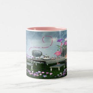 Wonderland Flamingo & Cheshire Cat Tea Party Mug
