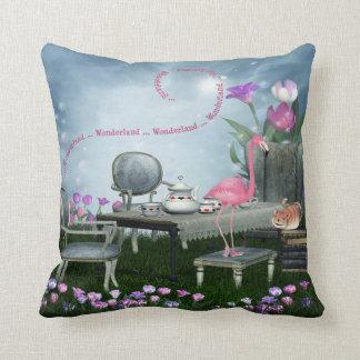 Wonderland Flamingo & Cheshire Cat Tea Party Throw Pillow