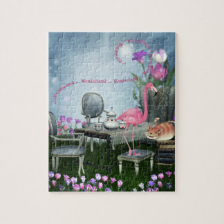 Wonderland Flamingo Cheshire Cat Tea Party Puzzle