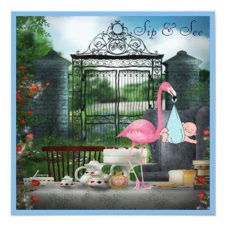 Wonderland Flamingo Sip & See Boy Baby Shower Card