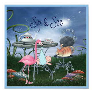 Wonderland Flamingo Sip & See Boy Baby Shower Card