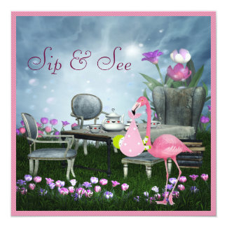 Wonderland Flamingo Sip & See Girl Baby Shower 5.25x5.25 Square Paper Invitation Card