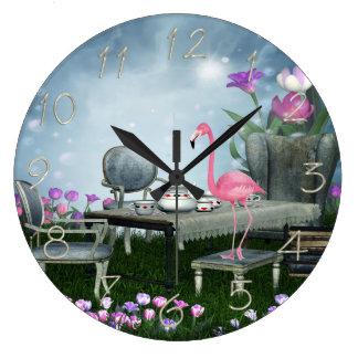 Wonderland Flamingo Tea Party Round Clocks