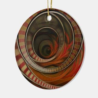 Wonderland Fractal Stairway, Three-Ringed Circus Ceramic Ornament