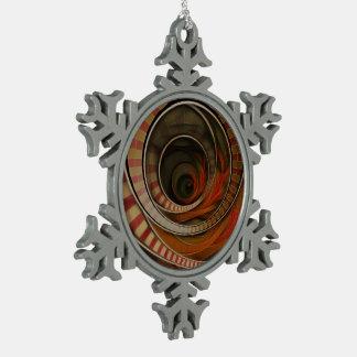 Wonderland Fractal Stairway, Three-Ringed Circus Snowflake Pewter Christmas Ornament