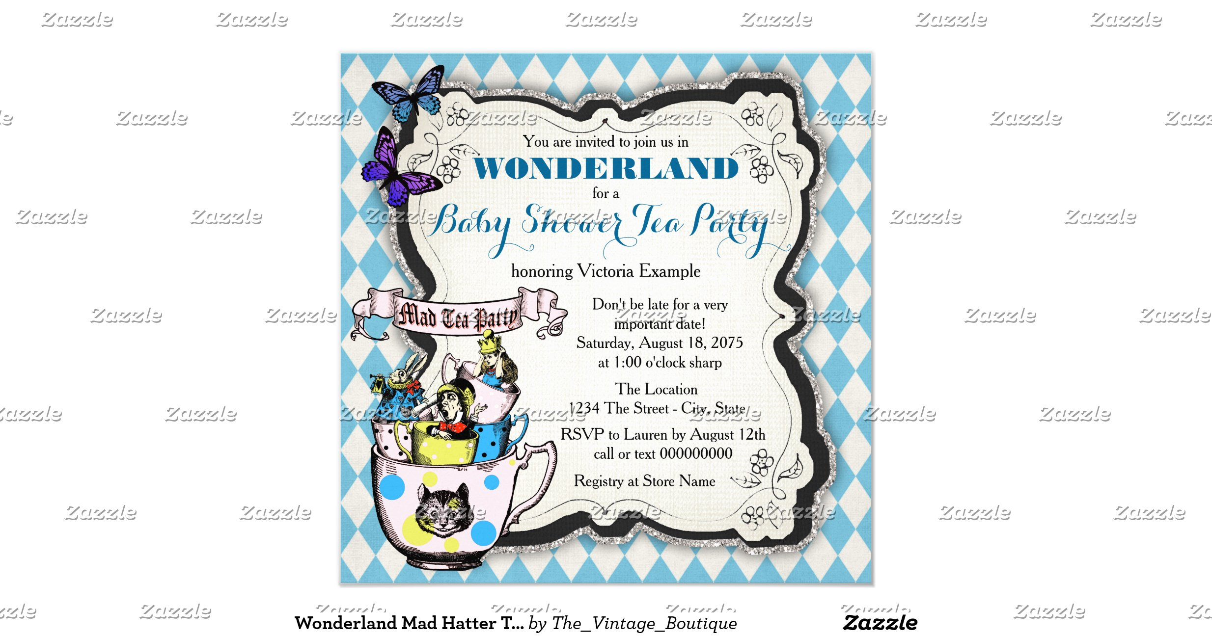 12 Cool Mad Hatter Tea Party Invitations Kitty Baby Love - oukas.info