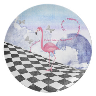 Wonderland Pink Flamingo Fantasy Art Plate