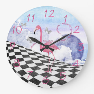 Wonderland Pink Flamingo Fantasy Clock