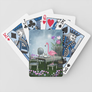 Wonderland Pink Flamingo Tea Party Bicycle Playing Cards