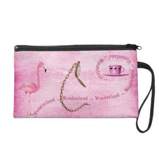 Wonderland Pink Flamingo, Watch & Tea Cup Wristlet Clutch