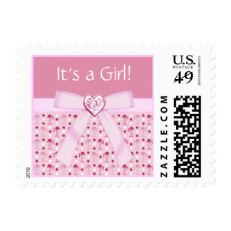 Wonderland Pink Flamingos New Baby Girl Stamps