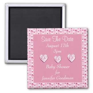 Wonderland Pink Flamingos Save The Date Baby 2 Inch Square Magnet