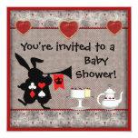 Wonderland Rabbit Herald Baby Shower Invites