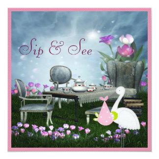 Wonderland Sip & See Baby Shower Card