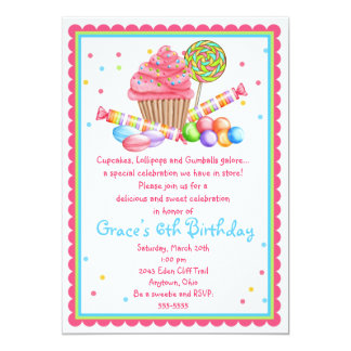Wonderland Sweet Shop Cupcake Candy invitation