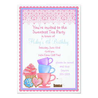 Wonderland Tea Party Birthday Invitations