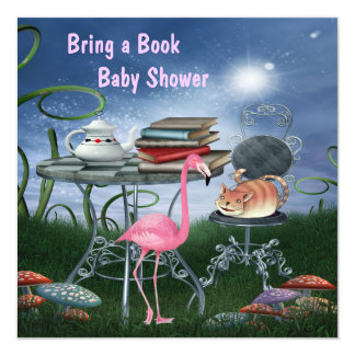 Wonderland Tea Party Bring A Book Baby Shower Card