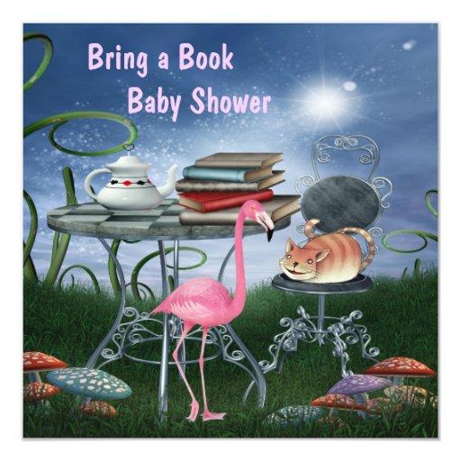 wonderland tea party bring a book baby shower invitation zazzle