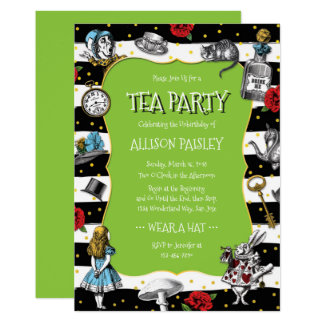 Wonderland Tea Party Lime Green Card