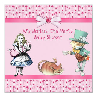 Wonderland Tea Party Pink Flamingos Baby Shower Card