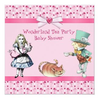 Wonderland Tea Party Pink Flamingos Baby Shower Card