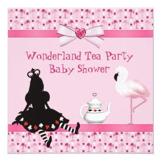 Wonderland Tea Party Pink Flamingos Baby Shower Custom Invitations
