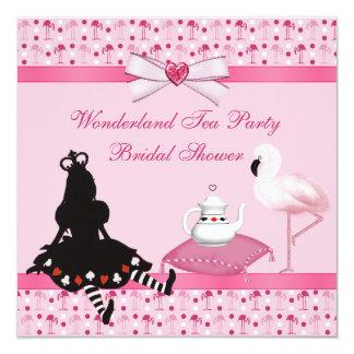 Wonderland Tea Party Pink Flamingos Bridal Shower Card