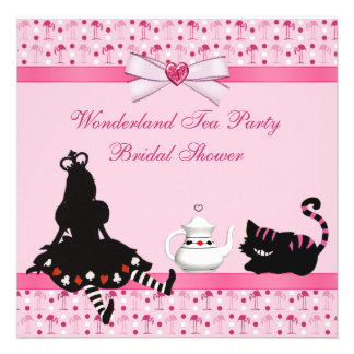 Wonderland Tea Party Pink Flamingos Bridal Shower Personalized Invite