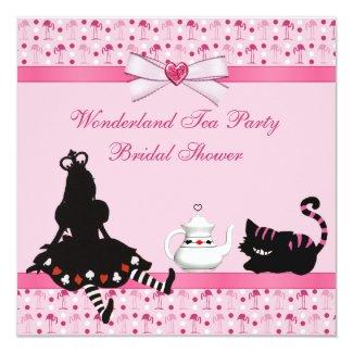 Wonderland Tea Party Pink Flamingos Bridal Shower 5.25x5.25 Square Paper Invitation Card