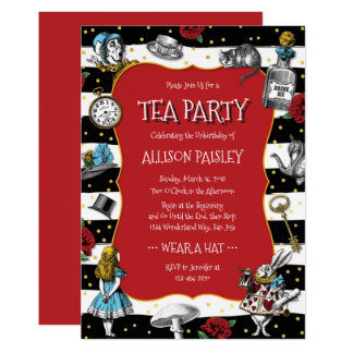 Wonderland Tea Party Whimsical Red Card