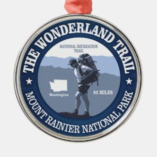 Wonderland Trail (rd) Round Metal Christmas Ornament