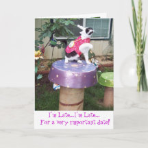 Wonderland White Rabbit Belated Birthday Card