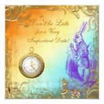 Wonderland White Rabbit Bridal Shower Tea Party 5.25x5.25 Square Paper Invitation Card