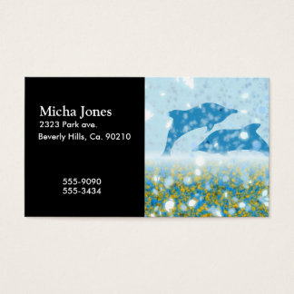 Wonderous Dolphins In The Sparkling Mystical Sea Business Card
