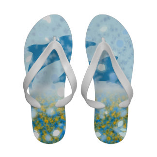 Wonderous Dolphins In The Sparkling Mystical Sea Sandals