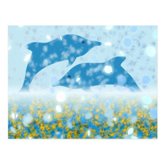 Wonderous Dolphins In The Sparkling Mystical Sea Postcard
