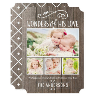 Wonders of His Love | Christmas Photo Collage Card