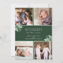 Wonders of his Love | Green Four Photo Christmas Holiday Card