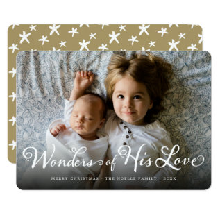 Wonders Of His Love Religious Christmas Photo Card at Zazzle