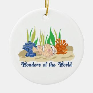 WONDERS OF THE WORLD ROUND CERAMIC ORNAMENT