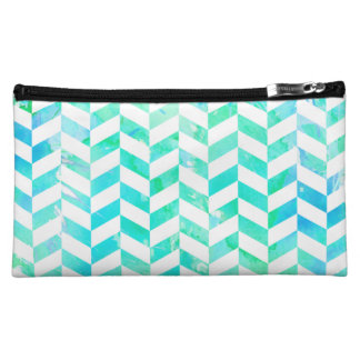 Wondrous Watercolors Aqua Herringbone Cosmetic Bags