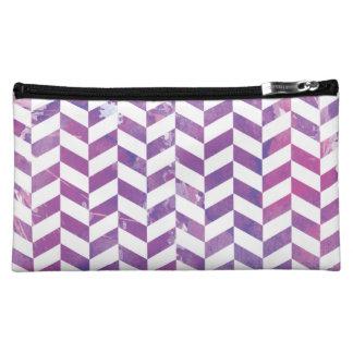 Wondrous Watercolors Pink & Purple Herringbone Cosmetic Bag