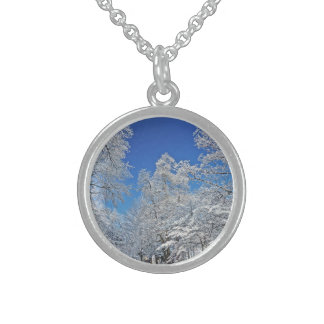 WONDROUS WINTER SCENE/SNOW COVERED TREES AND BLUE STERLING SILVER NECKLACE
