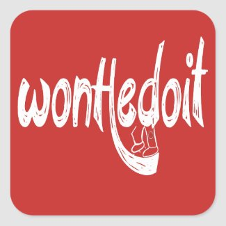 WonHedoit Red & White Square Stickers